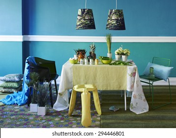 turquoise dining room interior style