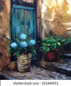 turquoise door and flowers cobblestone steps nostalgic vintage painting