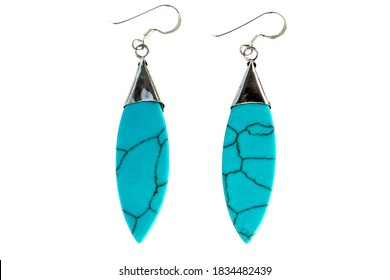 Turquoise earring and silver isolated on white background. Turquoise stone and silver earrings with leaf shape isolated
