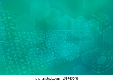 Turquoise futuristic background with  periodic table of elements