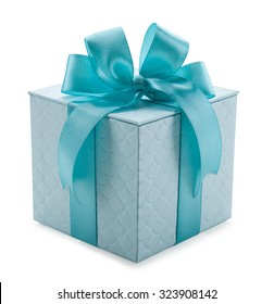 turquoise gift box with ribbon and bow isolated on a white background.