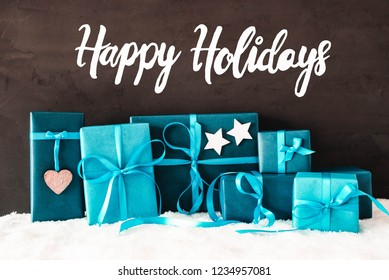 Turquoise Gifts, Calligraphy Happy Holidays, Snow, Cement Background