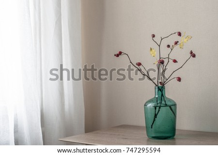Turquoise Glass Vase Branches Wild Rose Stock Photo Edit Now