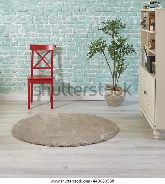 turquoise home red chair and cabinet with flower pot interior decoration