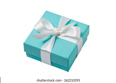 Turquoise isolated gift box with white ribbon on white background