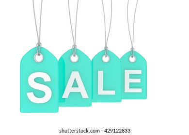 Turquoise isolated sale labels on white background. Price tags. Special offer and promotion. Store discount. Shopping time. 3D rendering.