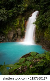 turquoise jungle river Rio Celeste waterfall in the Tenorio Volcano National Park in Costa Rica