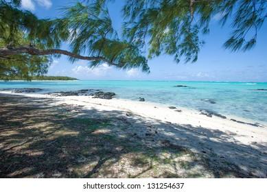 Turquoise lagoon of Ile aux Cerfs beach near Mauritius Island