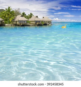 Turquoise lagoons of the tropical island. The beautiful place for restoration of forces, rest, aquatics, suntan and bathing. Warm sea water, white sand, breeze.