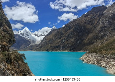 turquoise lake in the andes mountains in peru