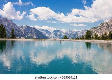 Turquoise lake in the Dolomites near to Cortina, Italy