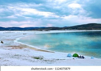Turquoise, Lake Salda (Salda Gölü) is a mid-size crater lake in southwestern Turkey,Burdur.It is famous its beautiful with sanded shore.