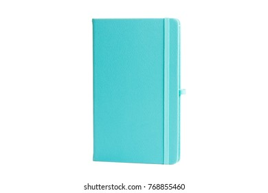 Turquoise Leather PU Agenda Diary Notebook with pen holder isolated on white background. In stationery, diary or appointment book is small book containing a main diary section with space for each day.
