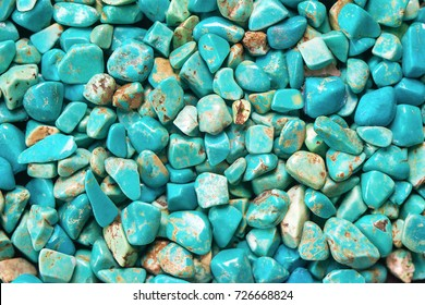 Turquoise mineral raw background, beautiful blue calaite stone texture - Shutterstock ID 726668824