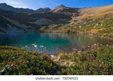 Turquoise mountain lake (Malodukinskoye). Arcasar Range, Western Caucasus. Russia, Karachay-Cherkessia, Arkhyz.