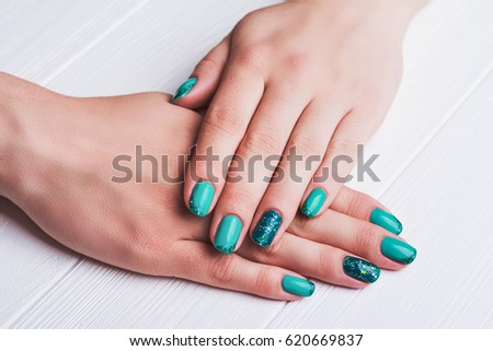 Turquoise Nail Art Tinsels On White Stock Photo Edit Now 620669837