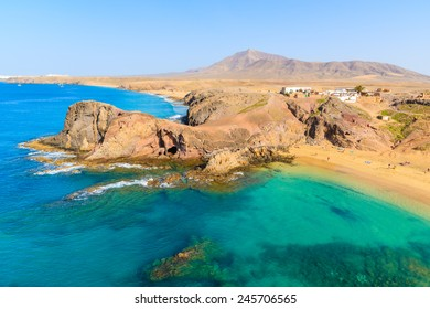 Turquoise ocean water on Papagayo beach, Lanzarote, Canary Islands, Spain