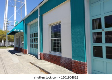 Turquoise Painted Building in Southport, North Carolina