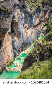 Turquoise pools of Millpu located in Department of Ayacucho in Peru. Amazing landscape in Ayacucho.