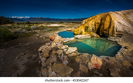 Turquoise Pools Travertine Hot Springs Bridgeport California USA Sierra Mountains in the Background