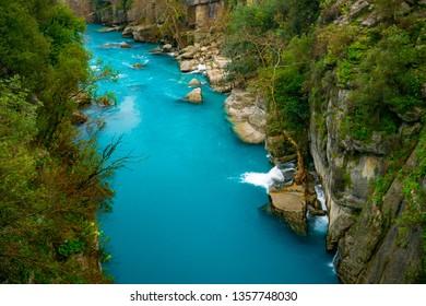 Turquoise river landscape from Koprulu Canyon National Park in Manavgat, Antalya, Turkey. Koprucay.