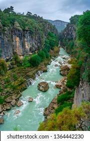 Turquoise river landscape from Koprulu Canyon National Park in Manavgat, Antalya, Turkey.
