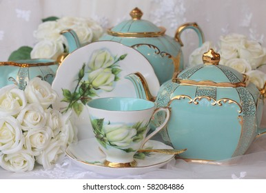 turquoise and roses tea set vintage