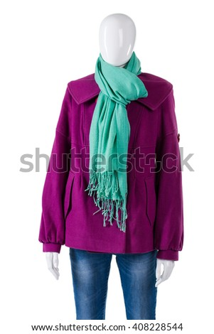 Turquoise Scarf Purple Coat Mannequin Wearing Stock Photo