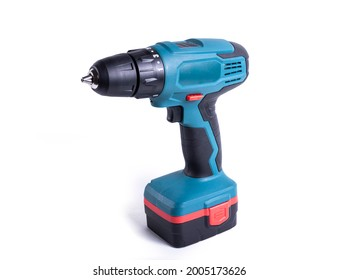 Turquoise screwdriver drill isolated on a white background