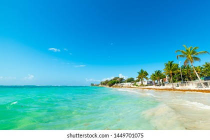 Turquoise sea and blue sky in Raisins Clairs beach in Guadeloupe, French west indies. Lesser Antilles, Caribbean sea