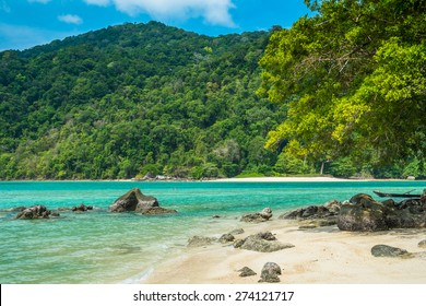 Turquoise sea with clean beach