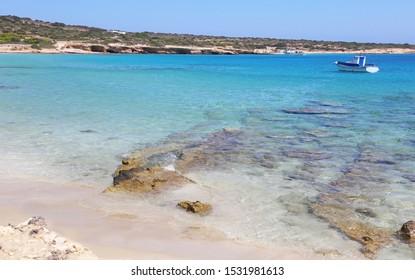 turquoise sea landscape of Italida beach Ano Koufonisi island Greece
