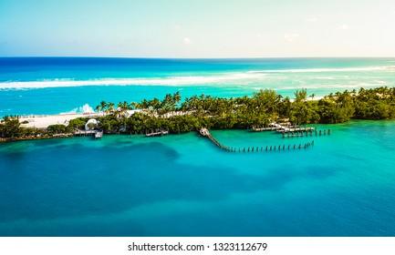 Turquoise sea water and cloudy blue sky. Nature landscape Caribbean sea. Bahamas. Nassau