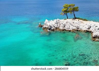 "Turquoise Sea Waters Around a Rocky Cape / Amarantos Cape of Skopelos Island / ""Mamma Mia!"" Film Location"