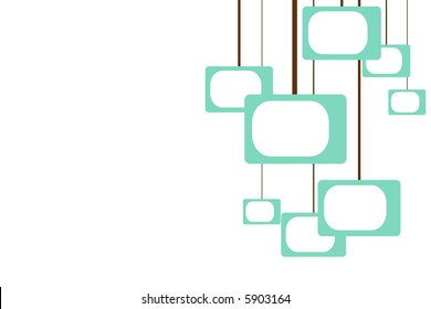 turquoise shapes reminiscent of televisions hanging from brown lines in a retro pattern