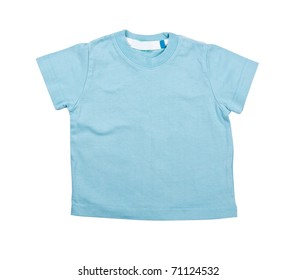 Turquoise shirt with a short sleeve on the white