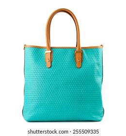 Turquoise shopper bag isolated on white background.