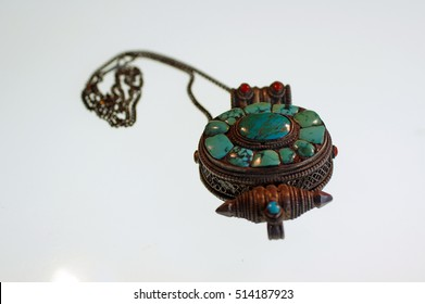 Turquoise and silver reliquary box from Tibet