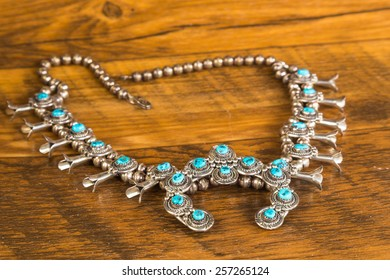 Turquoise and Silver Squash Blossom Necklace is spiritually symbolic to Native Americans of the Southwest.