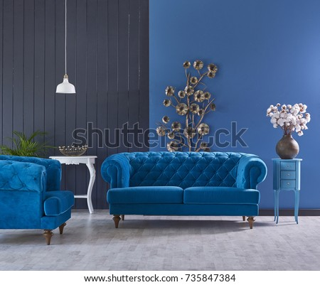 Turquoise Sofa Classic Living Room Decoration Grey And Blue Wall Horizontal  Banner With Empty Wooden Floor