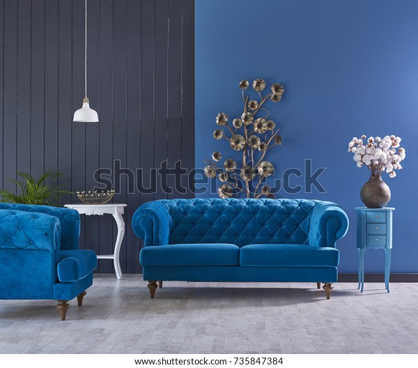 Turquoise Sofa Classic Living Room Decoration Stockfoto ...