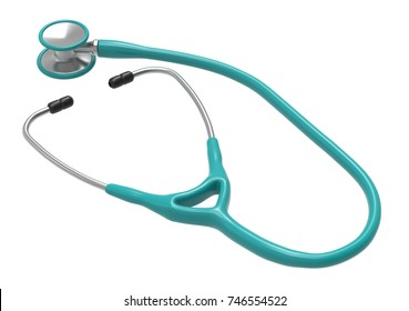 Turquoise stethoscope isolated on a white background. 3D rendering. 3D illustration. Healthcare and medicine concept.