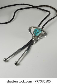 Turquoise string tie native American bolo