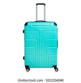 Turquoise suitcase isolated on white background. Polycarbonate suitcase isolated on white. Turquoise suitcase.