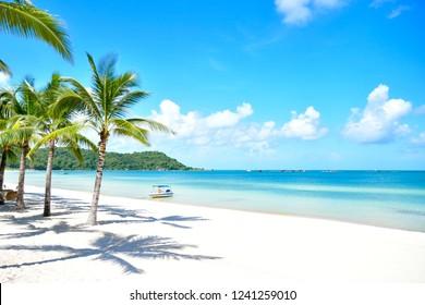 Turquoise tropical beach landscape at Phu Quốc island, Vietnam.