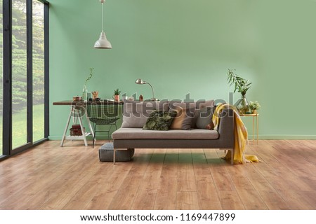 Turquoise Wall Living Room Grey Sofa Stock Photo Edit Now