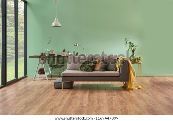 Terrific Turquoise Wall Living Room Grey Sofa Interiors Stock Image Pabps2019 Chair Design Images Pabps2019Com