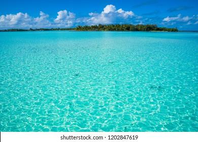 Turquoise water with blue sky in Bora Bora, Tahiti