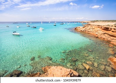 Turquoise water of Cala Saona beach on Formentera island, Spain