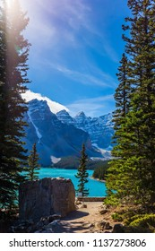 The turquoise water of cold lake Moraine. Province of Alberta, Canadian Rockies. The concept of ecological, photographic and active tourism